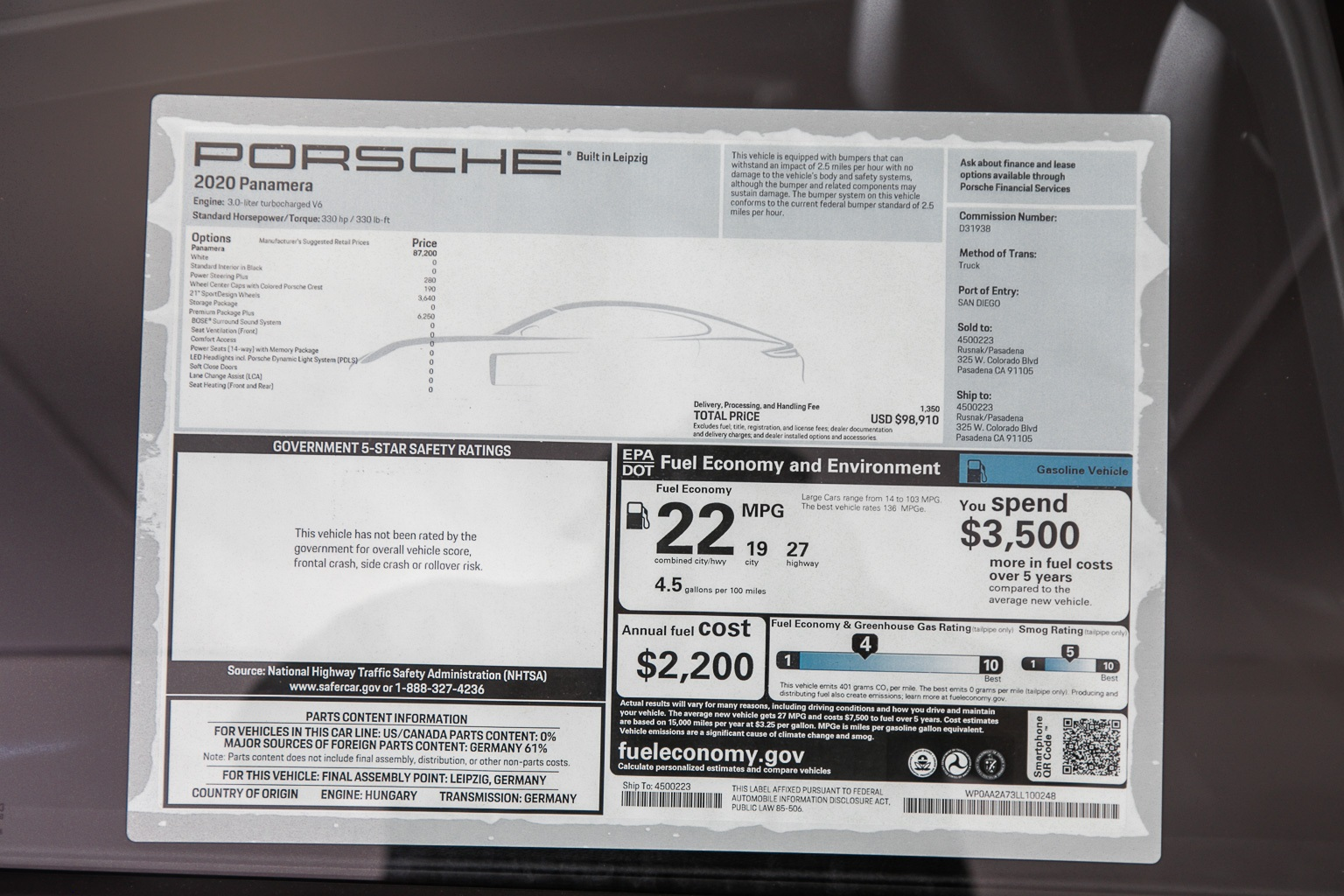 Certified Pre-Owned 2020 Porsche Panamera Base